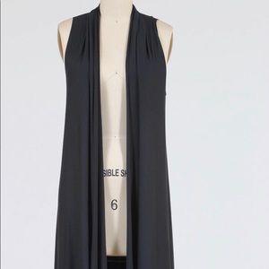 Comfy USA Sleeveless Long Flowy Black Vest